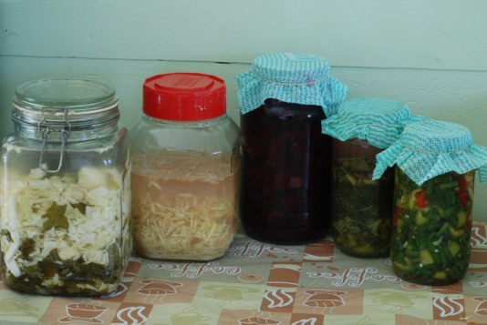 From left to right- Sauerkraut, Ginger bug, beet kvass, kale juice & pickled green beans