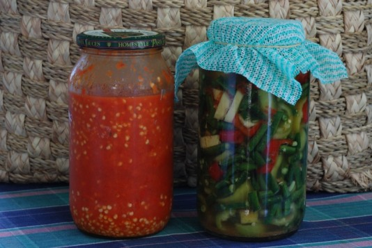 From left to right- HOT chilly sauce & Pickled green beans