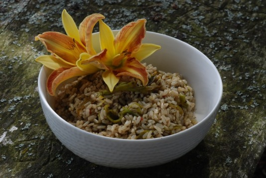 Daylily flower buds (Hemerocallis sp.) with brown rice.
