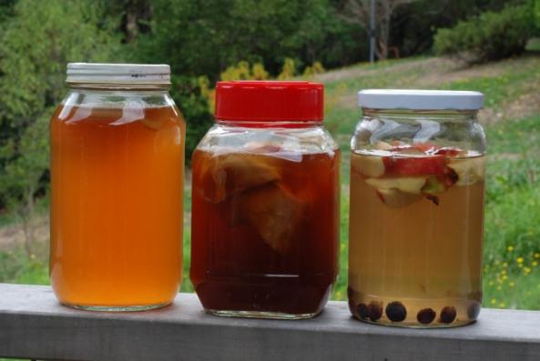 Wild ferments- crab apple cider vinegar, kombucha n apple scrap vinegar